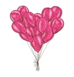 Bunch of balloons heart shaped on white background vector image vector image