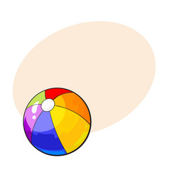 rainbow colored inflated beach ball sketch style vector image