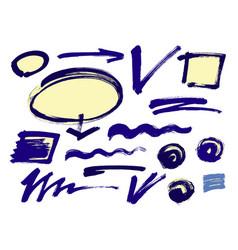 set of hand drawn grunge design elements frames vector image