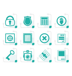 stylized simple security and business icons vector image vector image