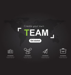 team icons with world black map for business vector image vector image