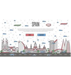 barcelona skyline with national famous landmarks vector image vector image