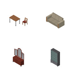 isometric furniture set of drawer sideboard vector image vector image