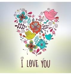 Lovely frame Floral design Heart shape Wedding vector image