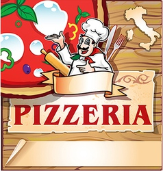 pizzeria background with italian chef vector image