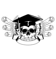 skull in graduation cap and scrolls vector image