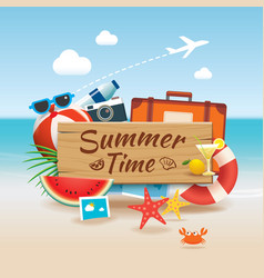 Summer time background banner design template and vector