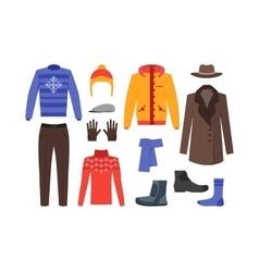 Winter Clothing Man Set vector image vector image
