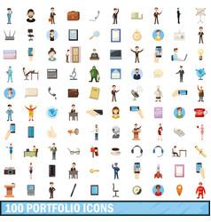 100 portfolio icons set cartoon style vector image
