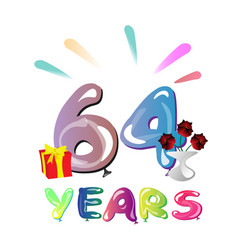 64 years anniversary celebration greeting card vector image vector image