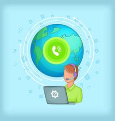 Call center concept global cartoon style vector