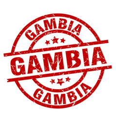 gambia red round grunge stamp vector image vector image
