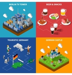 German Culture 4 Isometric Icons Square vector image vector image