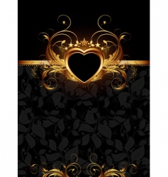 ornate frame with golden heart vector image vector image