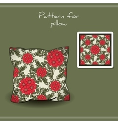 Pillow Red Flowers vector image vector image