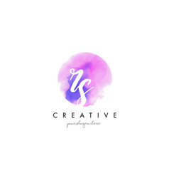 rs watercolor letter logo design with purple vector image vector image