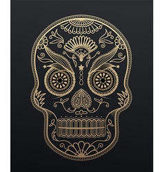 Sugar Skull day of the dead Mexican style golden vector image