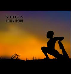 yoga training on sunset background vector image