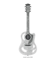 Acoustic guitar hand drawing vintage engraving vector