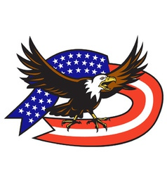 American bald eagle flag vector