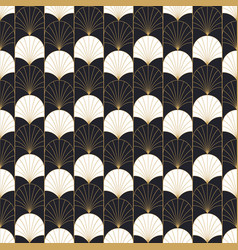art deco retro gold fan abstract seamless pattern vector image