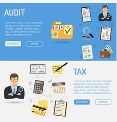 auditing tax process accounting banners vector image