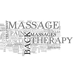 Back massage a proven way to relieve back pain vector