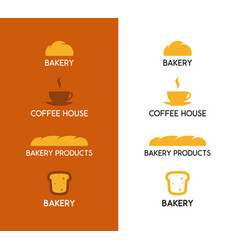 bakery products and coffee icon on white and brown vector image