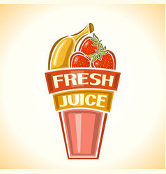 Banana strawberry fresh juice vector