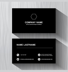 black paper business namecard on a white wood vector image