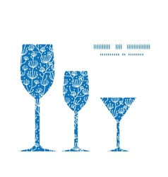 blue white lineart plants three wine vector image