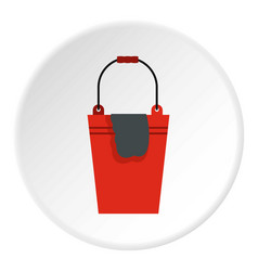 Bucket with a rag icon circle vector