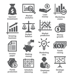 Business economic icons vector