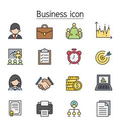 business management icon set filled outline vector image