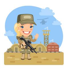 cartoon woman soldier at military base vector image