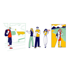 Characters outstretching hand smiling making vector