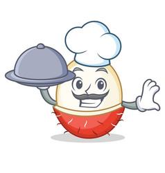 Chef with food rambutan mascot cartoon style vector