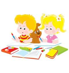 Children do homework vector