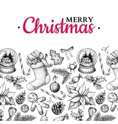 Christmas holiday greeting card hand drawn vector image