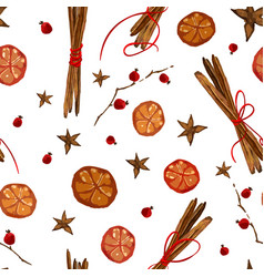 Christmas pattern with ingridients for mulled wine vector