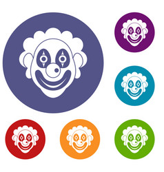 clown icons set vector image