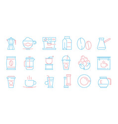 coffee cup icons hot drinks tea and coffee vector image