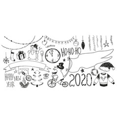 doodle new year set happy new year 2020 vector image