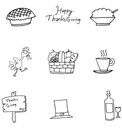 Doodle of Thanksgiving turkey fruit vector