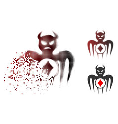 Dust dotted halftone gambling spectre devil icon vector