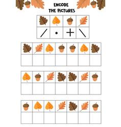 Educational worksheet for kids encode the vector