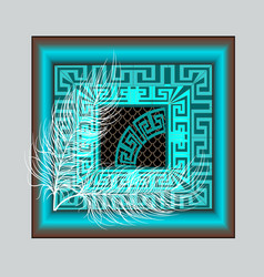 Elegance modern turquoise greek key meander panel vector