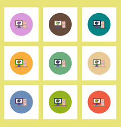 Flat icons set of business pie chart on computer vector