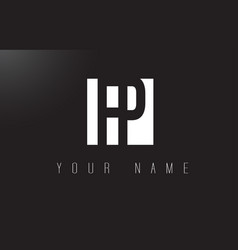 fp letter logo with black and white negative vector image