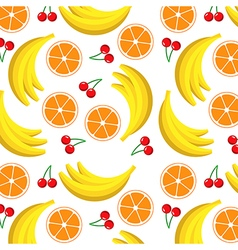 Fruit pattern with orange banana and cherry vector